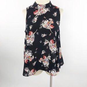 Anthropologie Maeve Black Floral Mock Neck Silk S
